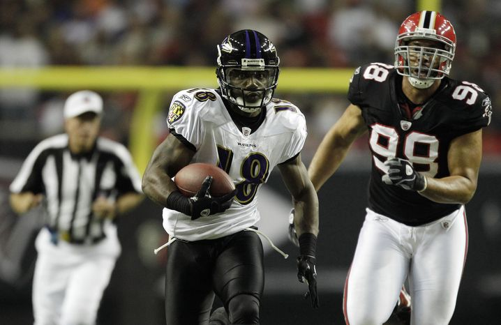 """Veteran receiver Donte Stallworth told 106.7 The Fan on Wednesday that he's """"excited to be a Redskin now."""" Stallworth is expected to sign his deal Friday, the first day teams are allowed to finalize free agent contracts under the labor rules implemented at the end of the NFL lockout. (AP Photo/David Goldman, File)"""