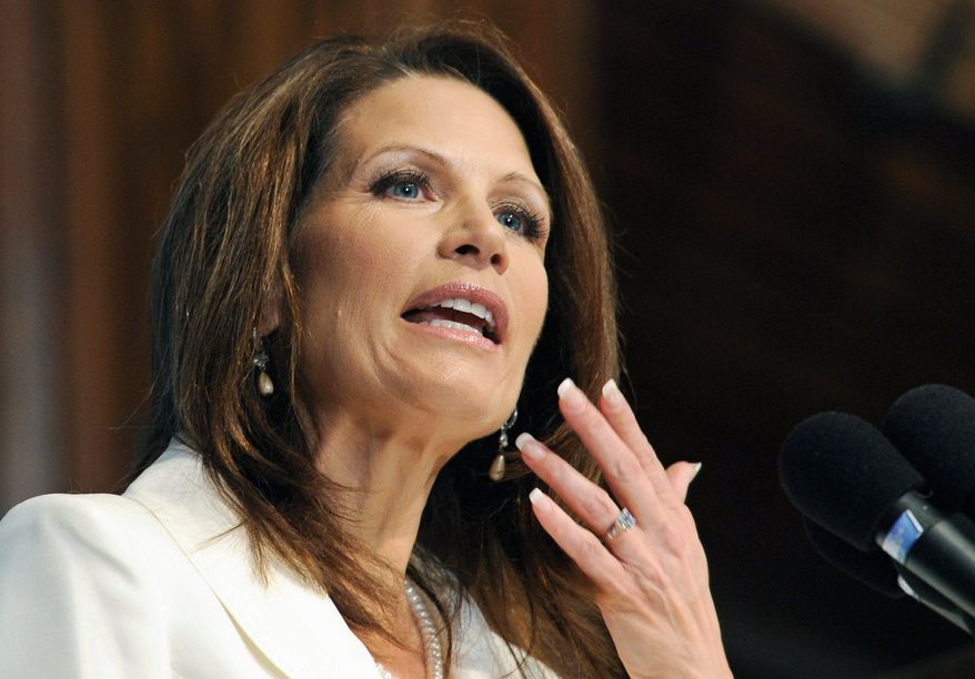 Rep. Michele Bachmann is among nine Republicans presidential candidates jockeying for position in next month's straw poll in Ames, Iowa. (Associated Press)