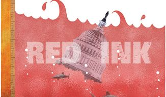 Illustration: Sea of red ink by Greg Groesch for The Washington Times