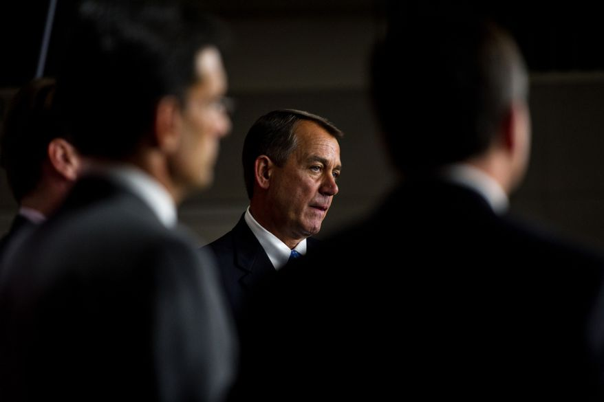 House Speaker John Boehner and GOP leadership hold a press conference to discuss the debt bill that the House is expected to vote on tonight, on Capitol Hill, in Washington, D.C., Thursday, July 28, 2011. (Drew Angerer/The Washington Times)