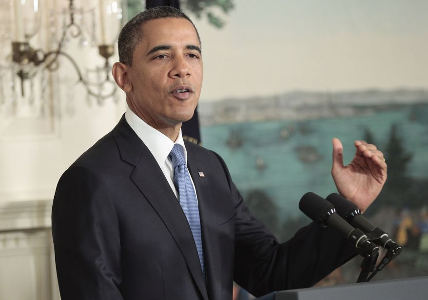 President Obama talks about the ongoing budget ceiling negotiations on July 29, 2011, at the White House. (Associated Press)