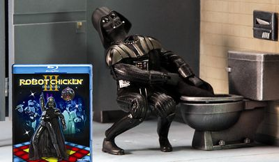 Darth Vader has some major suit malfunctions in Robot Chicken: Star Wars III from Warner Home Video.