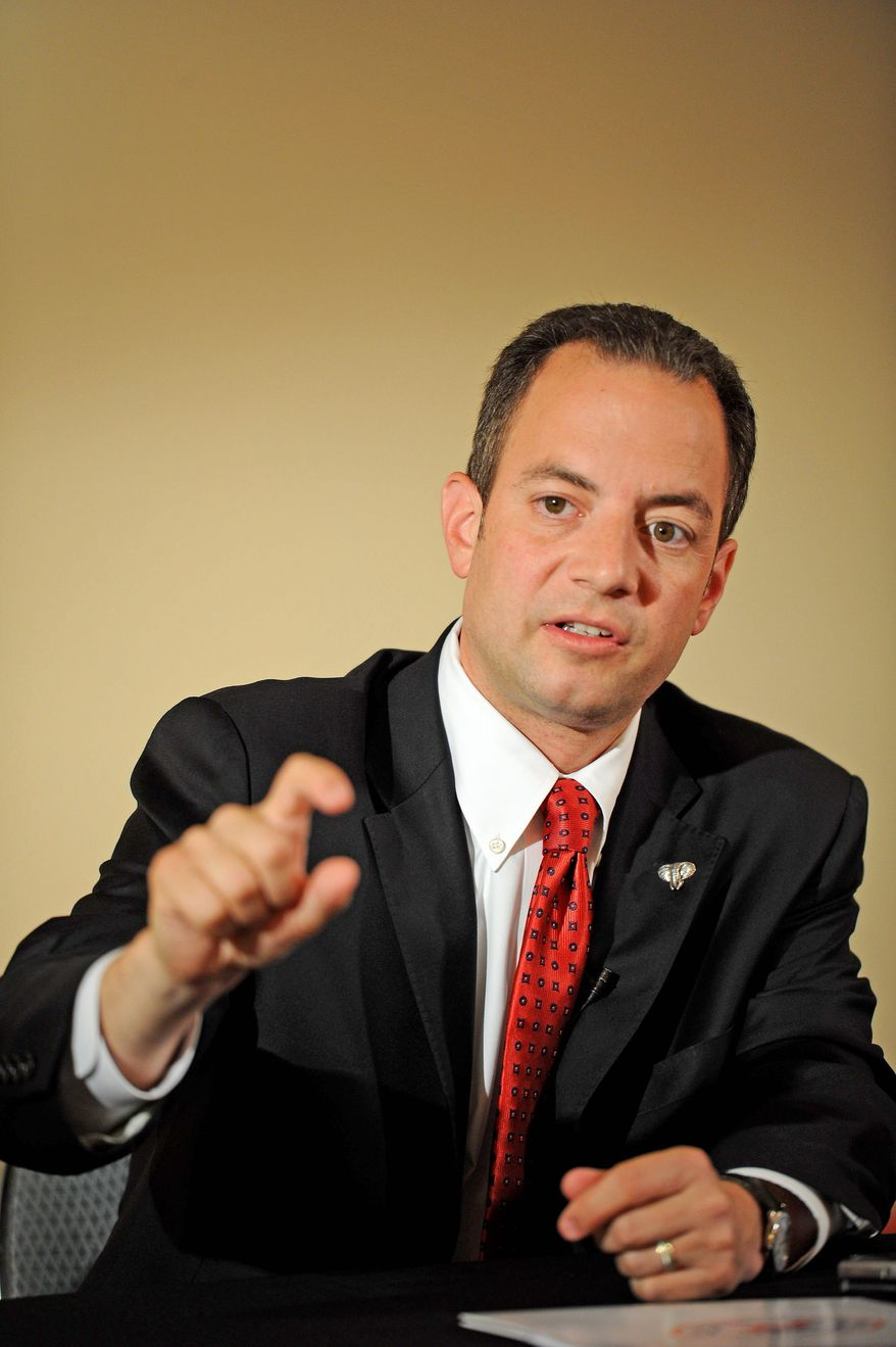 """RNC Chairman Reince Priebus is anticipating that President Obama will raise a huge amount of money for re-election. """"My job really right now is to maximize [Republican] net dollars,"""" he says. (Rod Lamkey Jr./The Washington Times)"""