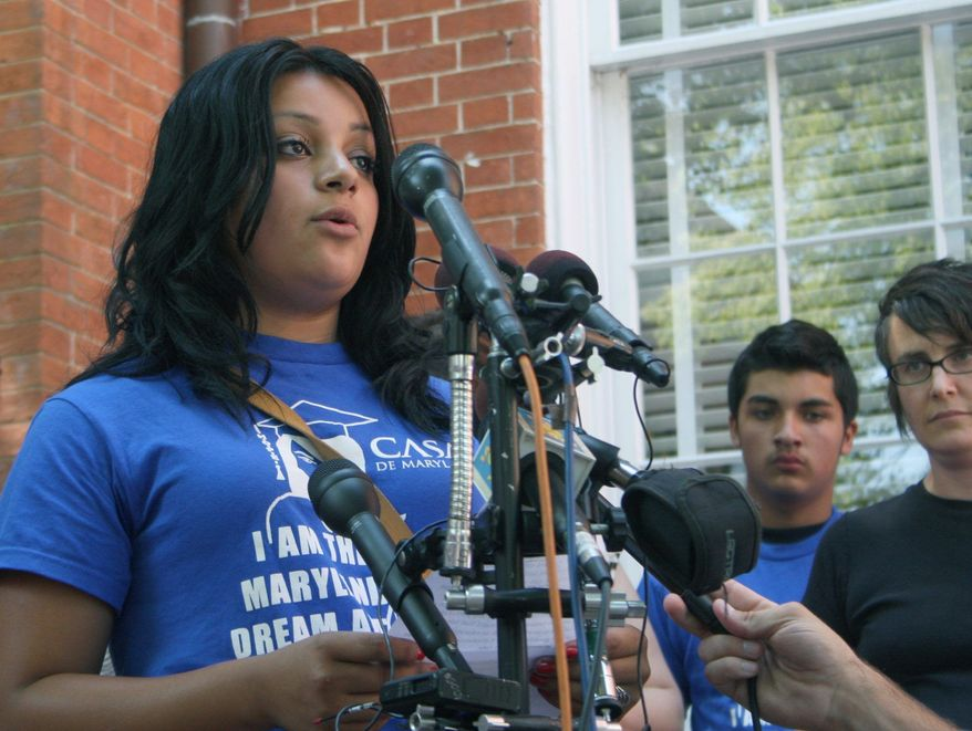 Silver Spring resident Wendy Hercules, 16, speaks in support of a lawsuit filed by immigrant advocacy group Casa de Maryland that claims elections officials erroneously validated many signatures that helped send Maryland's Dream Act to referendum. The law would allow some illegal immigrants to receive tuition breaks. (Associated Press)