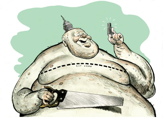 Illustration: Washington spending cuts by Linas Garsys for The Washington Times