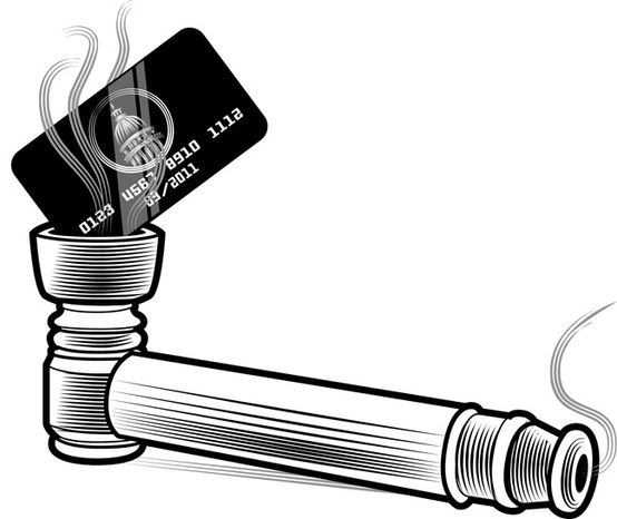 Illustration: Spending addiction by Linas Garsys for The Washington Times