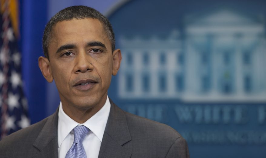 President Obama speaks from White House briefing room, Sunday, July 31, 2011 in Washington, about a deal being reached to raise the debt limit. (AP Photo/Carolyn Kaster)