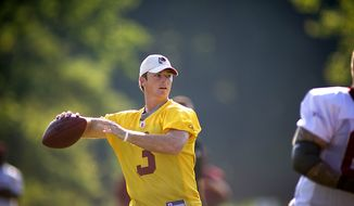 Washington Redskins quarterback John Beck (3) drops back for a pass during another day of training camp at Redskins Park in Ashburn, Va., Monday, August 1, 2011. (Rod Lamkey Jr./The Washington Times)