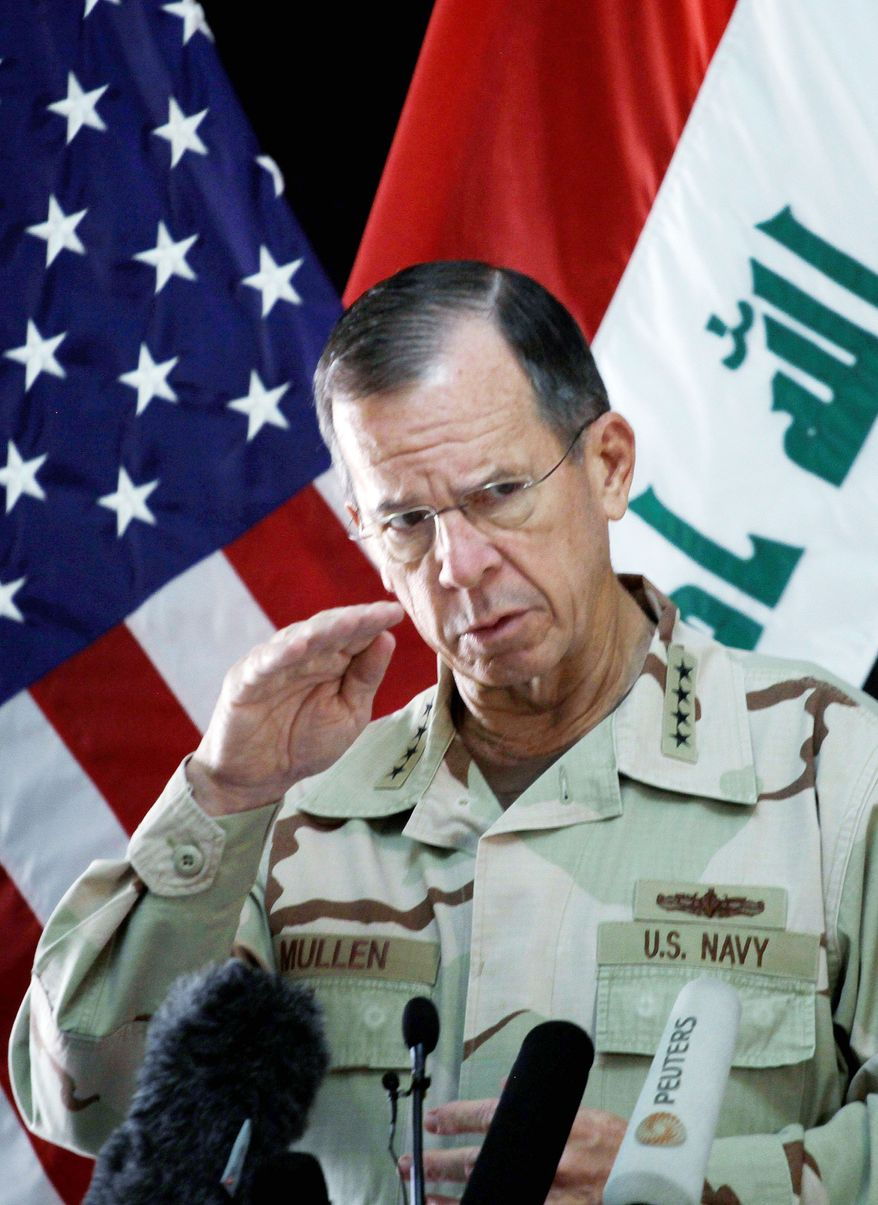 """It is clear that Tehran seeks a weak Iraq and an Iraq more dependent upon and more beholden to a Persian worldview,"" Adm. Mike Mullen said. (Associated Press)"