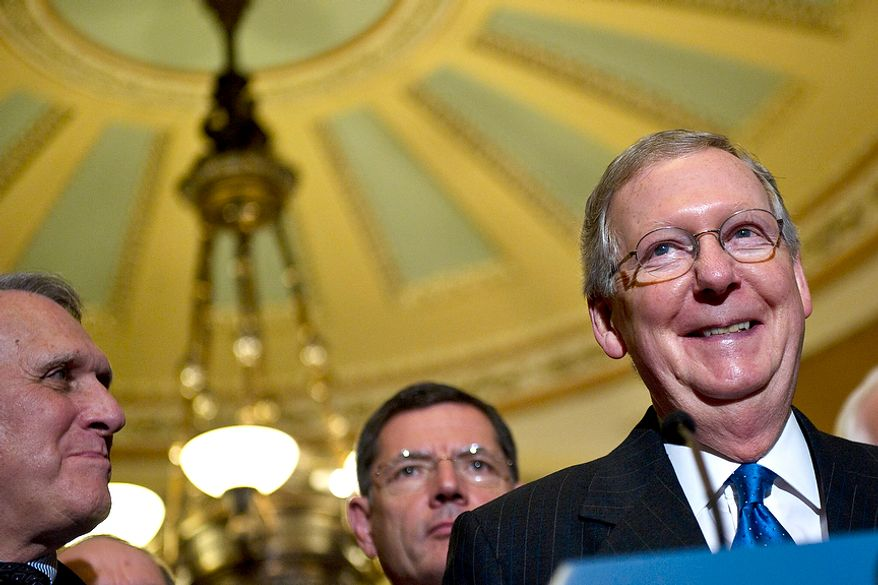 Senate Minority Leader Mitch McConnell, R-Ky., speaks to the media after the Senate passed the debt ceiling plan, on Capitol Hill, in Washington, D.C., Tuesday, Aug. 2, 2011. (Drew Angerer/The Washington Times)