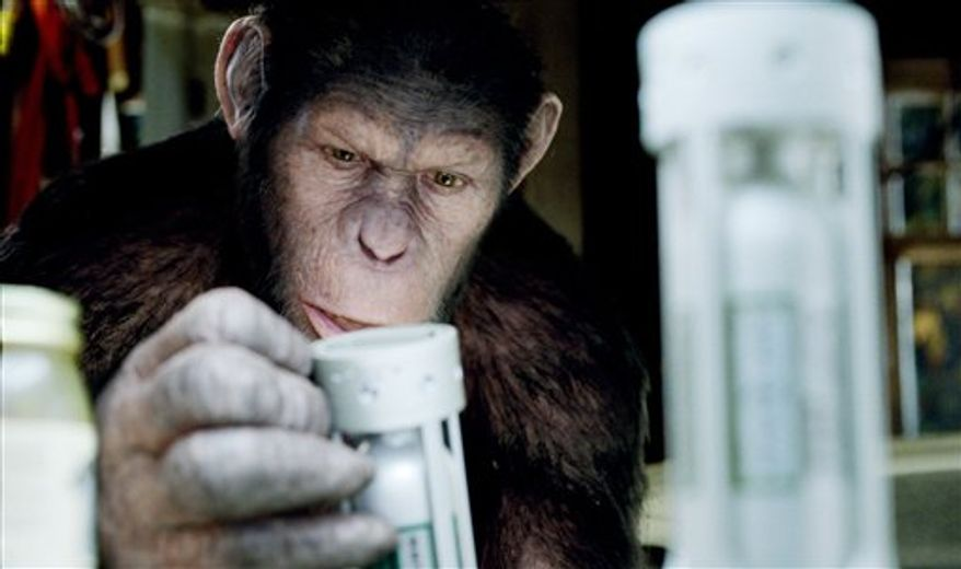 """In this image released by Twentieth Century Fox, Caesar the chimp, a CG animal portrayed by Andy Serkis is shown in a scene from """"Rise of the Planet  of the Apes ."""" (AP Photo/Twentieth Century Fox)"""