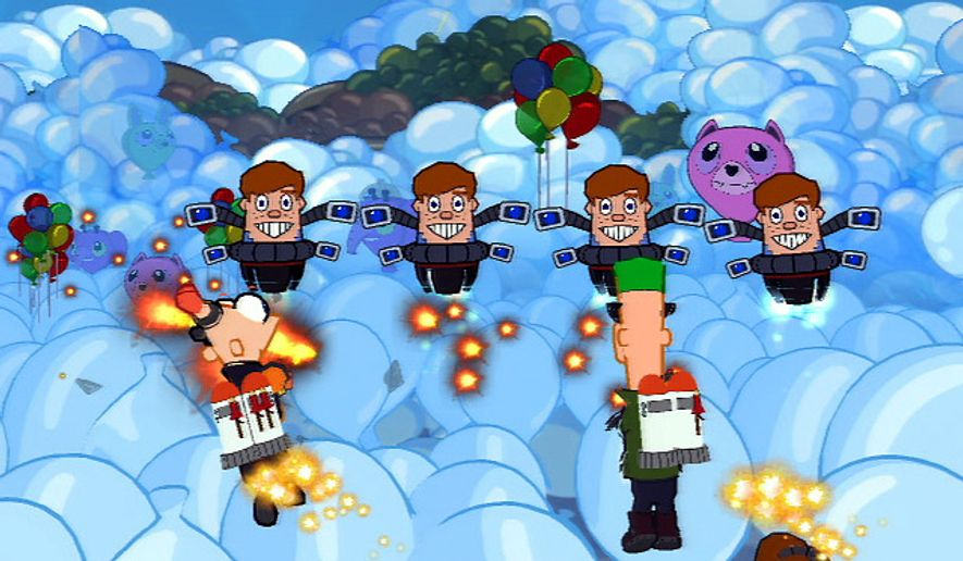 Our young heroes take to the sky to fight off Norm-Bots in the video game Phineas and Ferb: Across the 2nd Dimension.