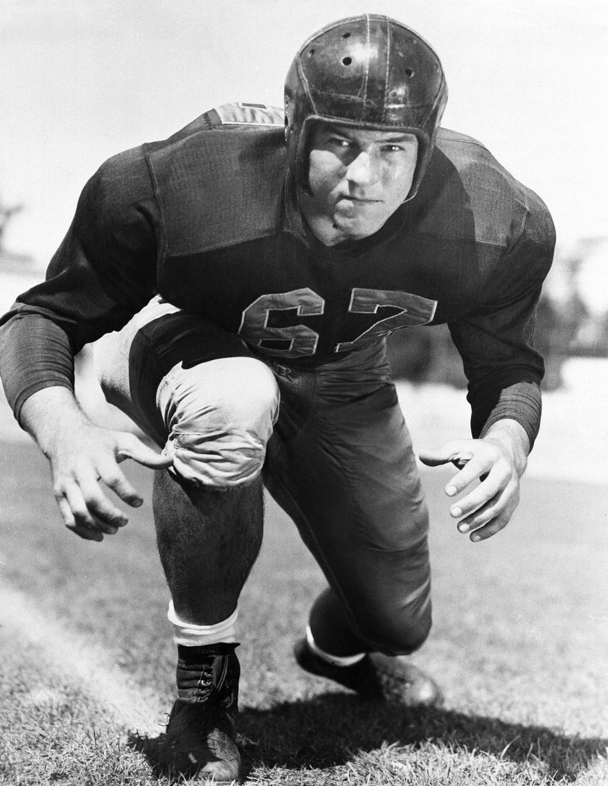 ** FILE ** In this Dec. 4, 1951, file photo, football player Les Richter poses for a picture in California. Richter, who died in June 2010, will be inducted posthumously into the Pro Football Hall of Fame this weekend. (AP Photo/File)