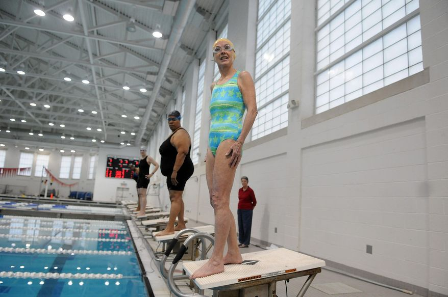 Ms. Wilson, a resident of the District of Columbia, awaits the starting sign for her swimming competition. 