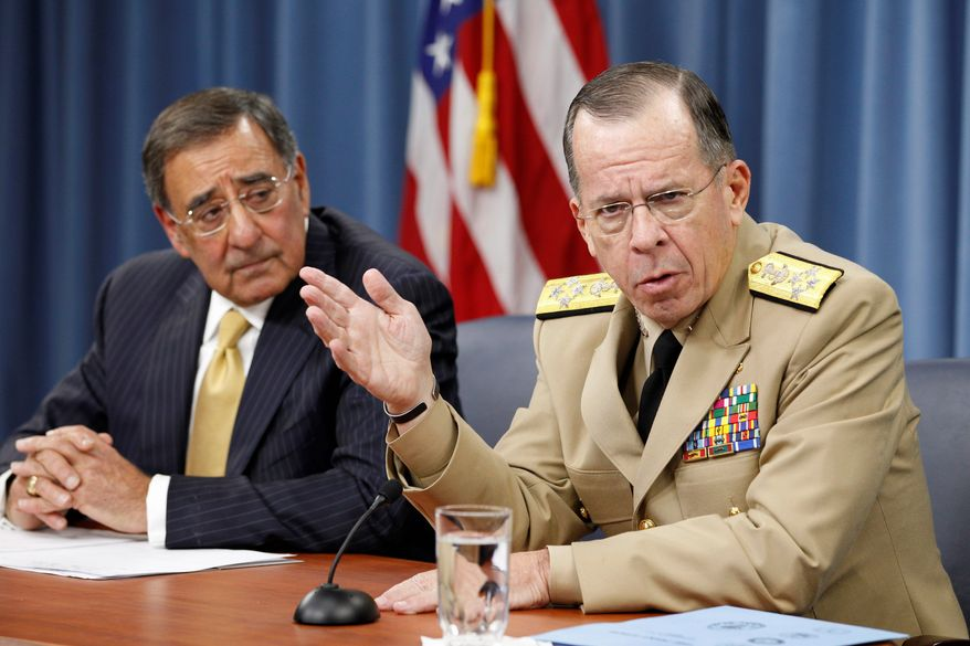 """ASSOCIATED PRESS  Adm. Mike Mullen (right), chairman of the Joint Chiefs of Staff, and Defense Secretary Leon E. Panetta warned against further spending cuts for the military beyond the $350 million to $400 million already agreed by Congress and President Obama this week. """"I think anything beyond that would damage our national defense,"""" Mr. Panetta said."""
