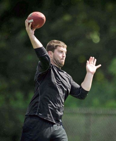 Quarterbacks Rex Grossman and John Beck are expected to battle for the Redskins' starting job. While Beck has talked a good game during the offseason, Grossman is the incumbent starter who has enjoyed success during an up-and-down career. (Rod Lamkey Jr./The Washington Times)