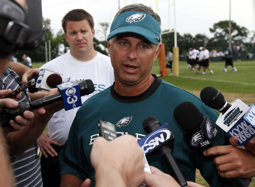 Philadelphia Eagles head trainer Rick Burkholder updates the media on the condition of defensive tackle Mike Patterson who had a seizure during NFL football training camp at Lehigh University Wednesday, Aug. 3, 2011, in Bethlehem, Pa. (AP Photo/Alex Brandon)
