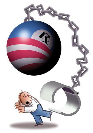 Illustration: Obamacare mandate by Alexander Hunter for The Washington Times