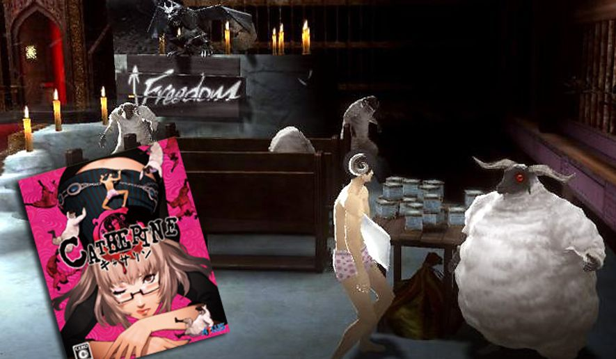 Vincent seeks help from a sheep man in the bizarre video game Catherine.
