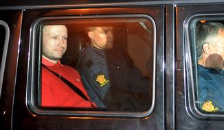 Anders Behring Breivik sits in an armored police vehicle after leaving the courthouse following a hearing in Oslo, Norway where he pleaded not guilty to one of the deadliest modern mass killings in peacetime. It's unlikely that Breivik will be declared legally insane because he appears to have been in control of his actions, the head of the panel that will review his psychiatric evaluation told The Associated Press. (AP Photo/Aftenposten/Jon-Are Berg-Jacobsen) NORWAY OUT