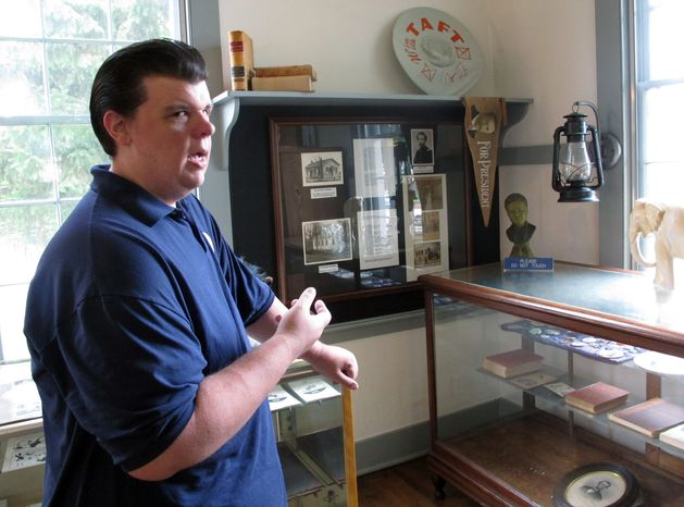 In this Aug. 1, 2011 photo, Brian Reilly, a worker at the schoolhouse where the modern Republican Party was founded in Ripon, Wis., talks about why he will support the Democratic candidate in one of six state Senate recall elections. Reilly said he's previously voted for Republican incumbent Sen. Luther Olsen, who ran twice unopposed, but was disgusted with how Republicans in control of the Senate pushed through Gov. Scott Walker's bill taking away most public employees' collective bargaining rights earlier this year. (AP Photo/Scott Bauer)