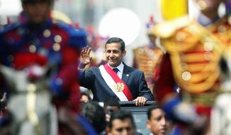 ** FILE ** Peruvian President Ollanta Humala is pictured at his swearing-in ceremony in 2011. (Associated Press)