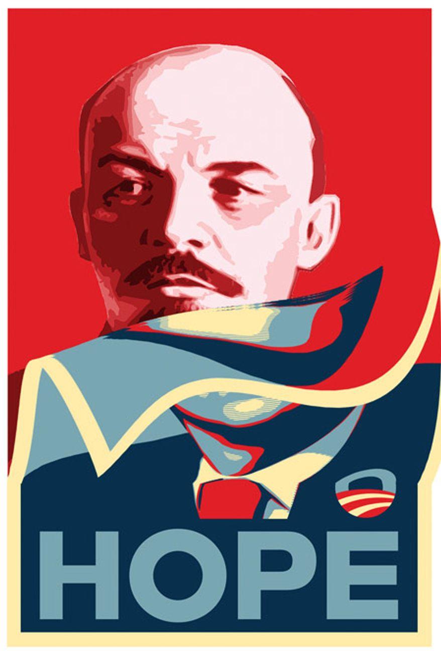 Illustration: Lenin's hope by Alexander Hunter for The Washington Times