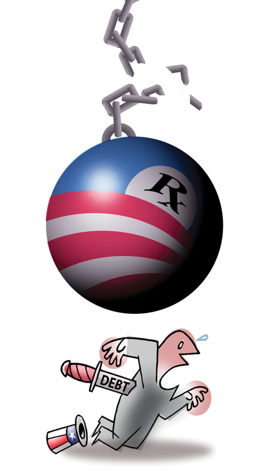 Illustration: Obamacare's debt by Alexander Hunter for The Washington Times