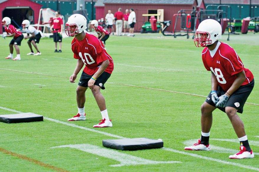 Sophomore Matt Robinson (left) and junior Eric Franklin aim to carry on a physical tradition in Maryland's defensive secondary. (Drew Angerer/The Washington Times)