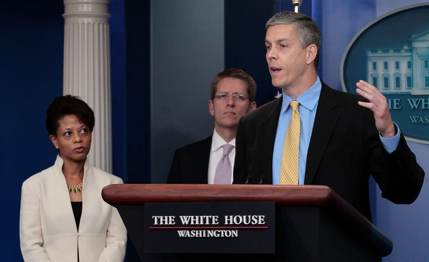 ASSOCIATED PRESS PHOTOGRAPHS Education Secretary Arne Duncan (right) discusses waivers for No Child Left Behind at the White House on Monday as White House press secretary Jay Carney looks on. The Obama administration has moved forward with a plan to grant waivers to states if they demonstrate reform and maintain high levels of student achievement. Several states will apply for relief.