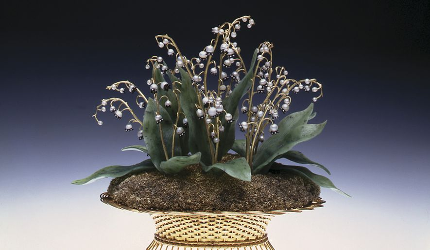 "This undated image provided by the Virginia Museum of Fine Arts shows a Faberge Imperial Lilies of the Valley Basket, 1896, which is part of an exhibit titled ""Faberge Revealed"" at the Virginia Museum of Fine Arts in Richmond, Va. (AP Photo/Virginia Museum of Fine Arts)"