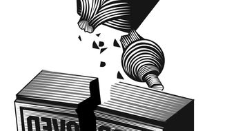 Illustration: Rubber stamp by Linas Garsys for The Washington Times