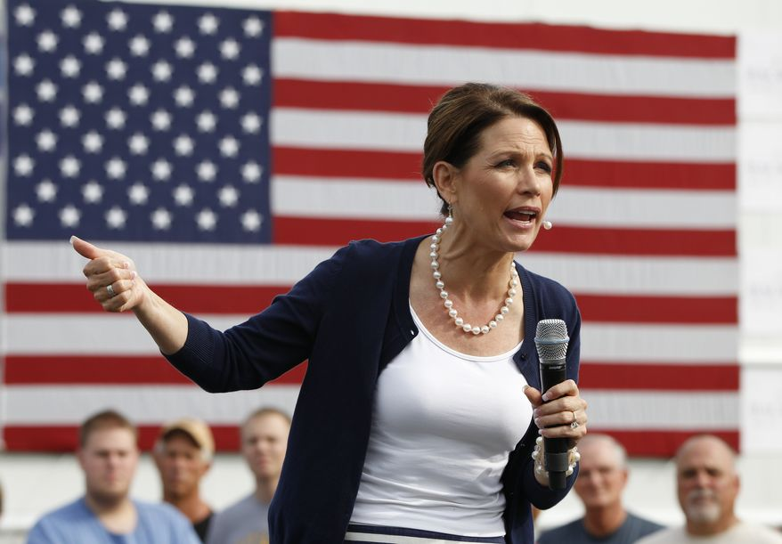 Rep. Michele Bachmann, Minnesota Republican, campaigns for the GOP presidential nomination at a stop in Humboldt, Iowa, on Tuesday, Aug. 9, 2011. (AP Photo/Charles Dharapak)