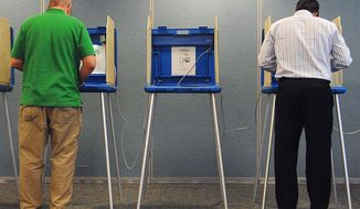 Voters cast their ballots in Wisconsin's 32nd Senate District recall election on Tuesday, Aug. 9, 2011, at the OmniCenter in Onalaska, Wis. (AP Photo/La Crosse Tribune, Rory O'Driscoll)