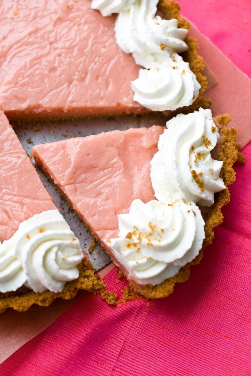 This pudding tart with a graham cracker crust is made with the pureed flesh of watermelon. Serve this summer treat with plenty of whipped cream. (Associated Press)