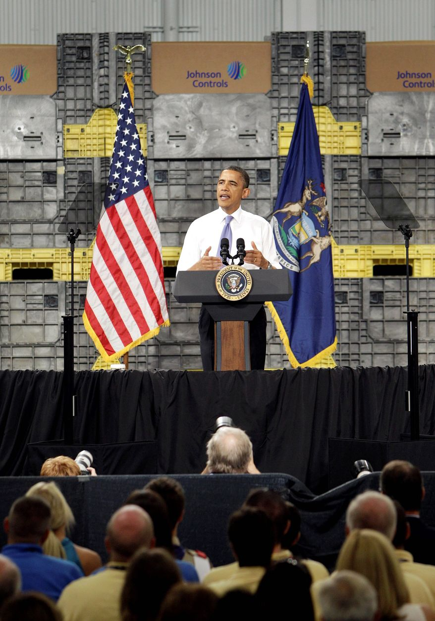 "Mr. Obama speaks at Johnson Controls Inc. in Holland, Mich., earlier Thursday, saying S&P's downgrade of the U.S. credit rating could have been avoided if Congress weren't ""dysfunctional."" (Associated Press)"