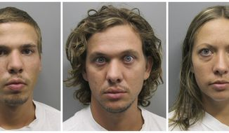From left: This combo made from photos provided Aug. 11, 2011, shows Ryan Edward Dougherty, 21, Dylan Dougherty Stanley, 26, and Lee Grace Dougherty, 29. (Associated Press/Pueblo County Sheriff's Office)