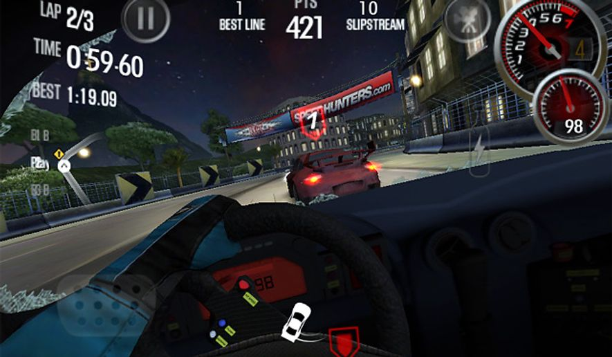 A first person perspective greets drivers in the iPad game Need for Speed: Shift 2 Unleashed.