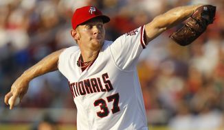 Washington Nationals pitcher Stephen Strasburg threw there scoreless innings and struck out five in his second rehab start for the Potomac Nationals. (AP Photo/Luis M. Alvarez)