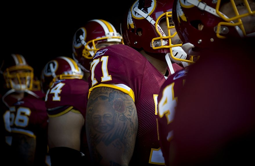 Washington Redskins tackle Trent Williams (71) waits with his team to play the Pittsburg Steelers at FedEx Field in Landover, Md, Friday, August 12, 2011. (Rod Lamkey Jr./The Washington Times)