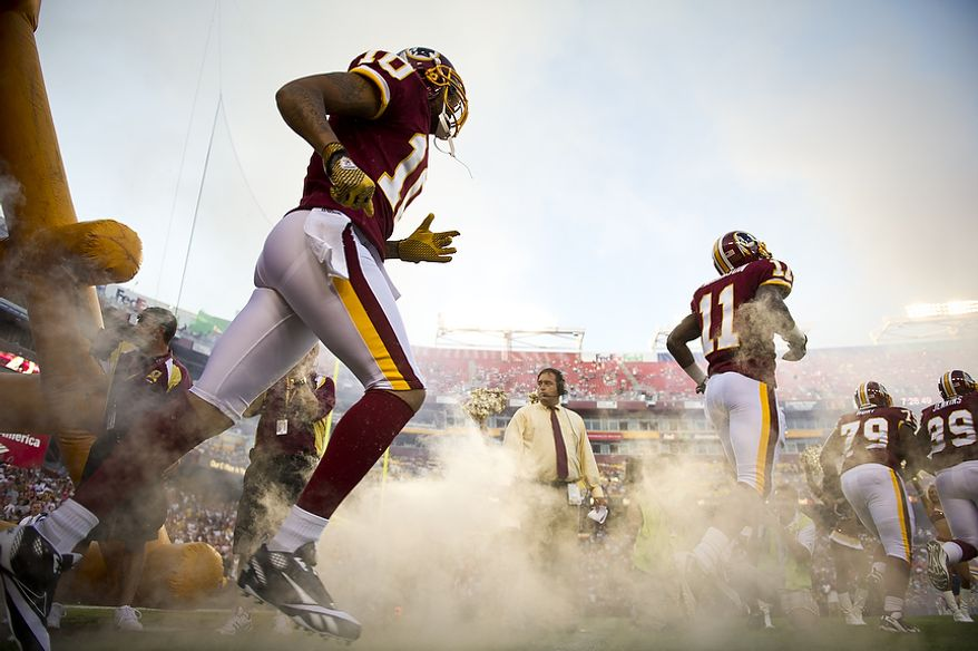 The Washington Redskins take to the field to play the Pittsburg Steelers at FedEx Field in Landover, Md, Friday, August 12, 2011. (Rod Lamkey Jr./The Washington Times)