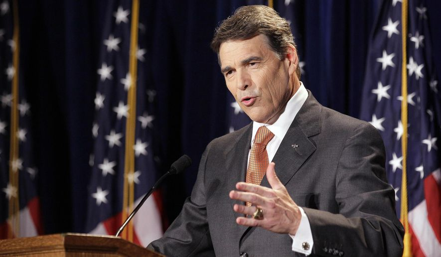 Texas Gov. Rick Perry speaks during the RedState Gathering, a meeting of conservative activists, where he announced his run for president in 2012, in Charleston, S.C., Saturday, Aug. 13, 2011. (AP Photo/Gerry Broome)