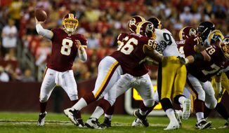Redskins starting quarterback Rex Grossman (8) fires a pass in the first half, during a preseason game between the Washington Redskins and the Pittsburgh Steelers, at FedEx Field in Landover, Md., Friday, Aug. 12, 2011. (Drew Angerer/The Washington Times)