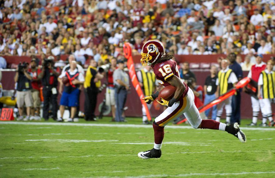 Brandon Banks has blazing speed on kick returns, but his 5-foot-7, 155-pound frame limits his effectiveness as a receiver. (Rod Lamkey Jr./The Washington Times)