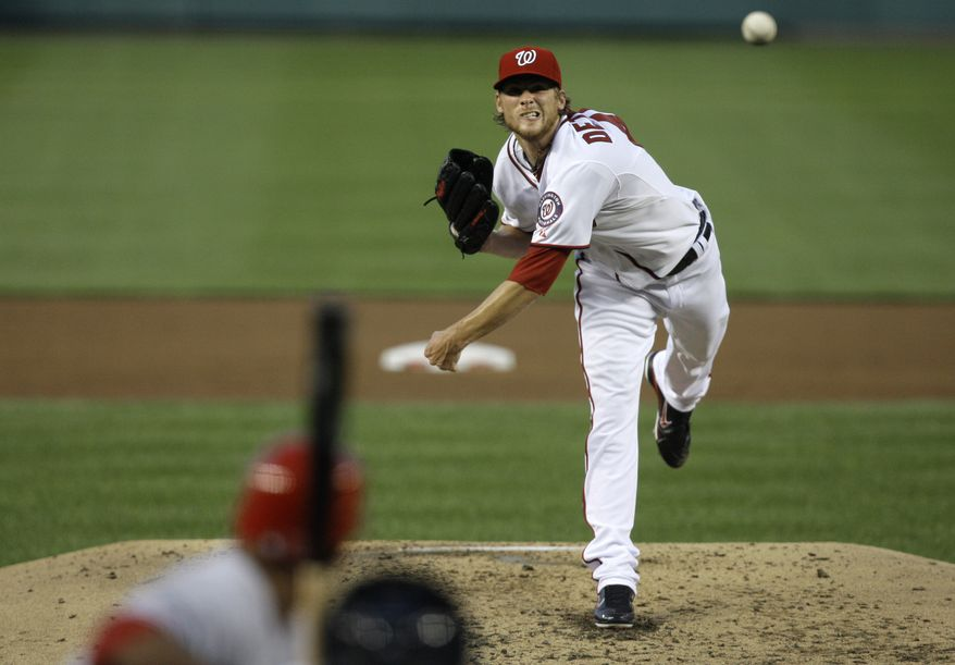 Washington Nationals starter Ross Detwiler had the most impressive outing of his young career Wednesday night against the Cincinnati Reds. In six innings, he allowed two earned runs on seven hits and two walks, and he struck out seven. Despite the effort, the Nats' offense was quiet, and they lost 2-1. (AP Photo/Jacquelyn Martin)