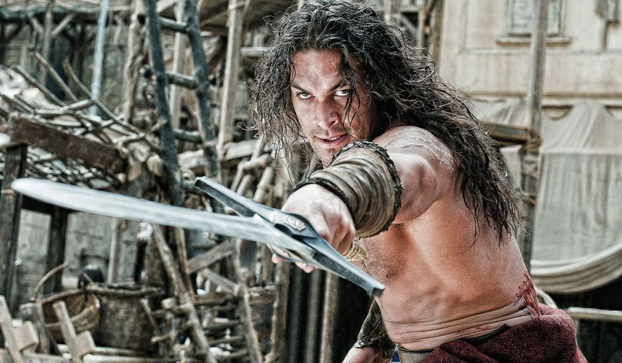 "Jason Momoa stars in director Marcus Nispel's remake of ""Conan the Barbarian."" The film relies on a glut of gore and violence in lieu of an intriguing story line, and Mr. Momoa struggles to portray the title role originally made famous by Arnold Schwarzenegger. (Lionsgate via Associated Press)"