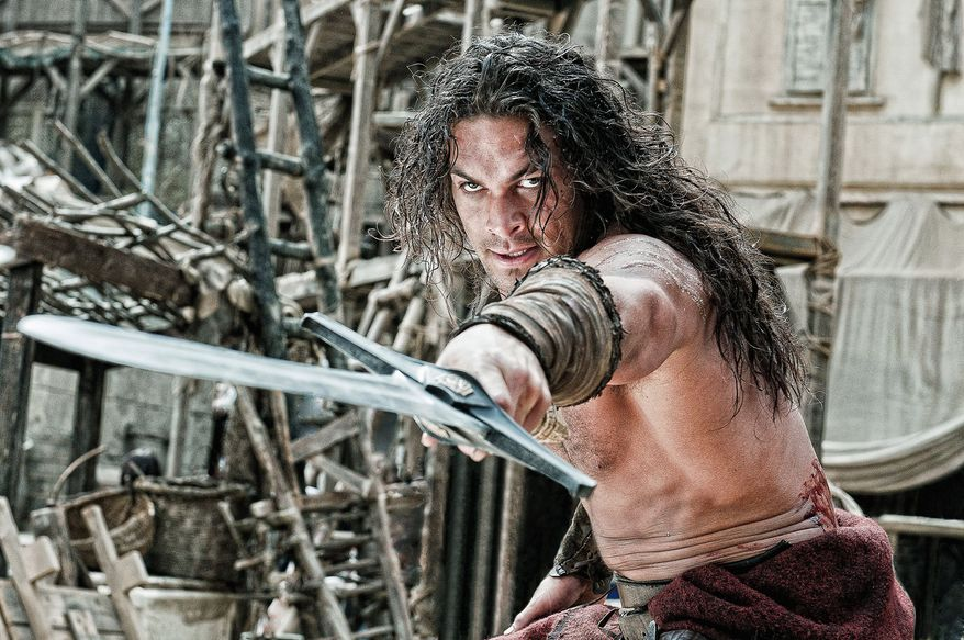 """Jason Momoa stars in director Marcus Nispel's remake of """"Conan the Barbarian."""" The film relies on a glut of gore and violence in lieu of an intriguing story line, and Mr. Momoa struggles to portray the title role originally made famous by Arnold Schwarzenegger. (Lionsgate via Associated Press)"""