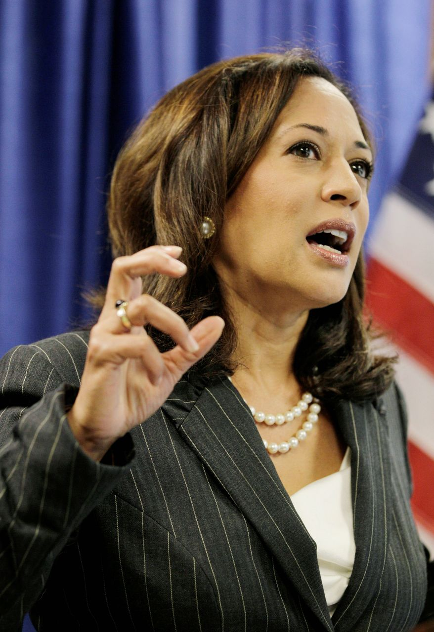 """They suggested that by joining this lawsuit, the banks would have to pay,"" California Attorney General Kamala Harris said of defendants in an alleged scam. (Associated Press)"