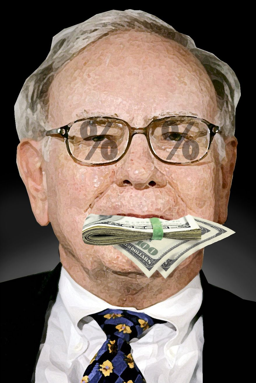 Warren Buffett (Illustration by Alexander Hunter for The Washington Times)