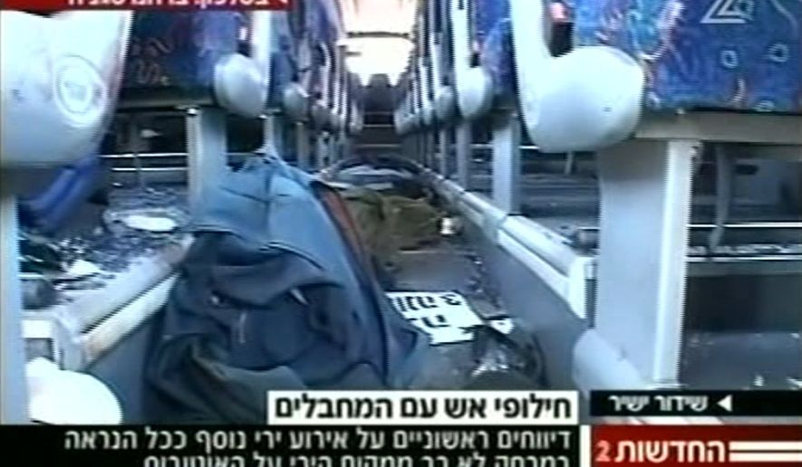 The interior of a damaged passenger bus is pictured after one of three attacks in southern Israel near the Egyptian border on Thursday, Aug. 18, 2011. (AP Photo/Channel 2 TV)